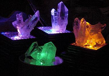 Arkansas Quartz Crystal clusters on LED light bases.